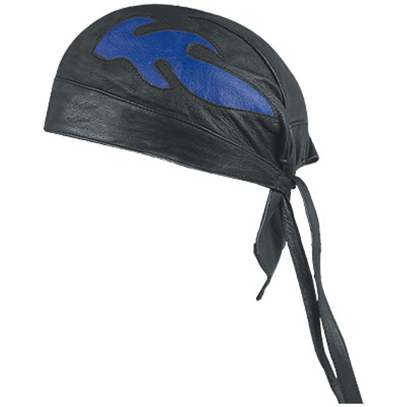 HMB-901C-3 LEATHER SKULLCAP BANDANA CAPS DURAG HATS BIKER HEAD GEAR