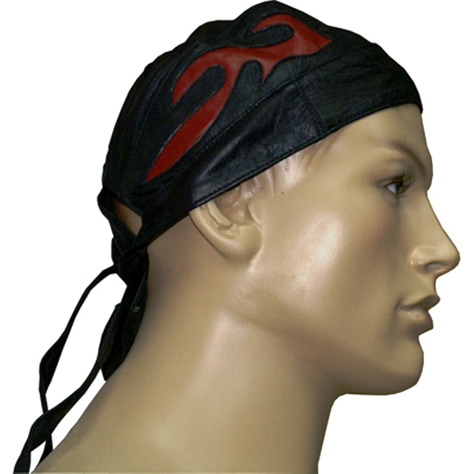 HMB-901F LEATHER BIKER SKULL CAP RED FLAMES BANDANA MOTORCYCLE DURAG HAT
