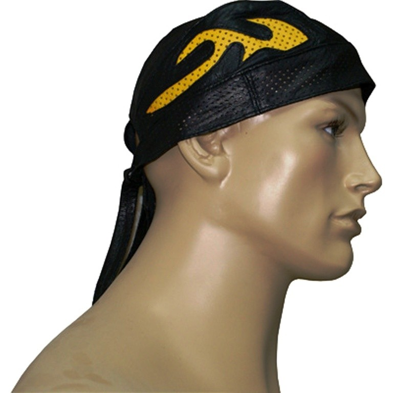 HMB-901H-2 LEATHER SKULLCAP BANDANA CAPS DURAG HATS BIKER HEAD GEAR