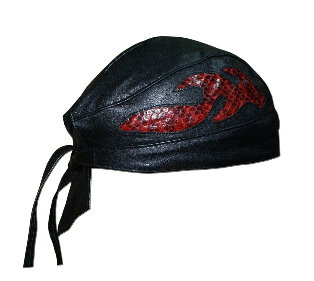 HMB-901M LEATHER SKULLCAP BANDANA CAPS DURAG HATS BIKER HEAD GEAR