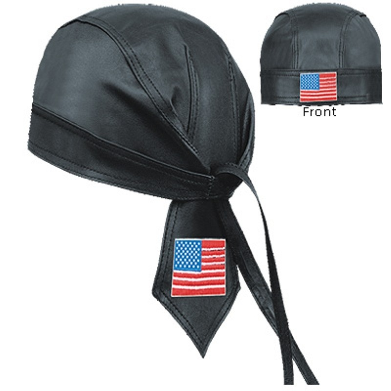 HMB-901P LEATHER SKULLCAP BANDANA CAPS DURAG HATS BIKER HEAD GEAR