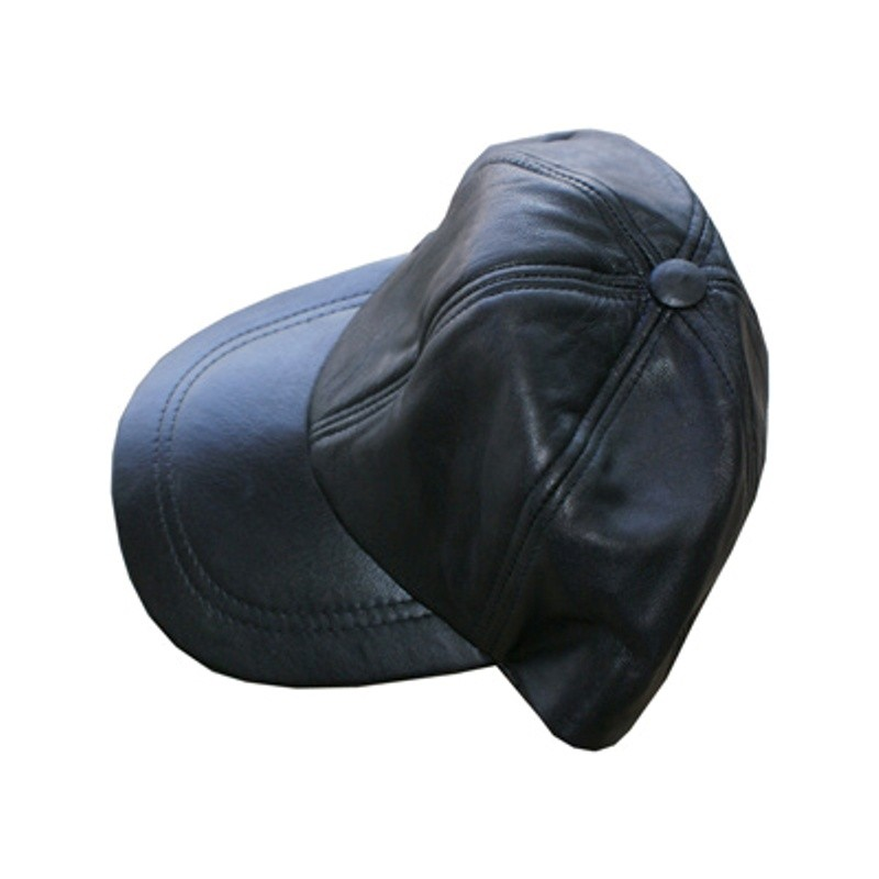 HMB-902A LEATHER BALL CAP BLACK BASEBALL HAT VELCRO BACK FITS MOST BALLCAP