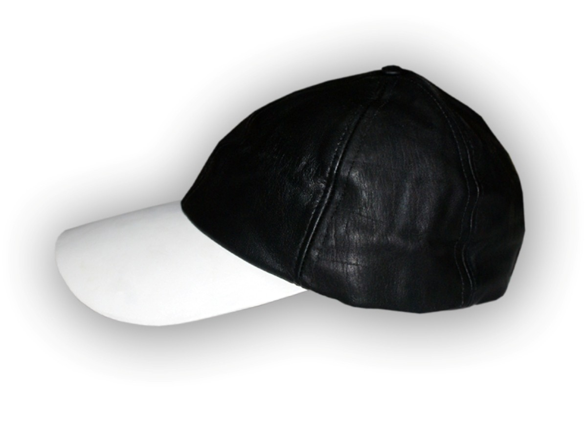 HMB-902B LEATHER BALL CAP BLACK BASEBALL HAT VELCRO BACK FITS MOST BALLCAP
