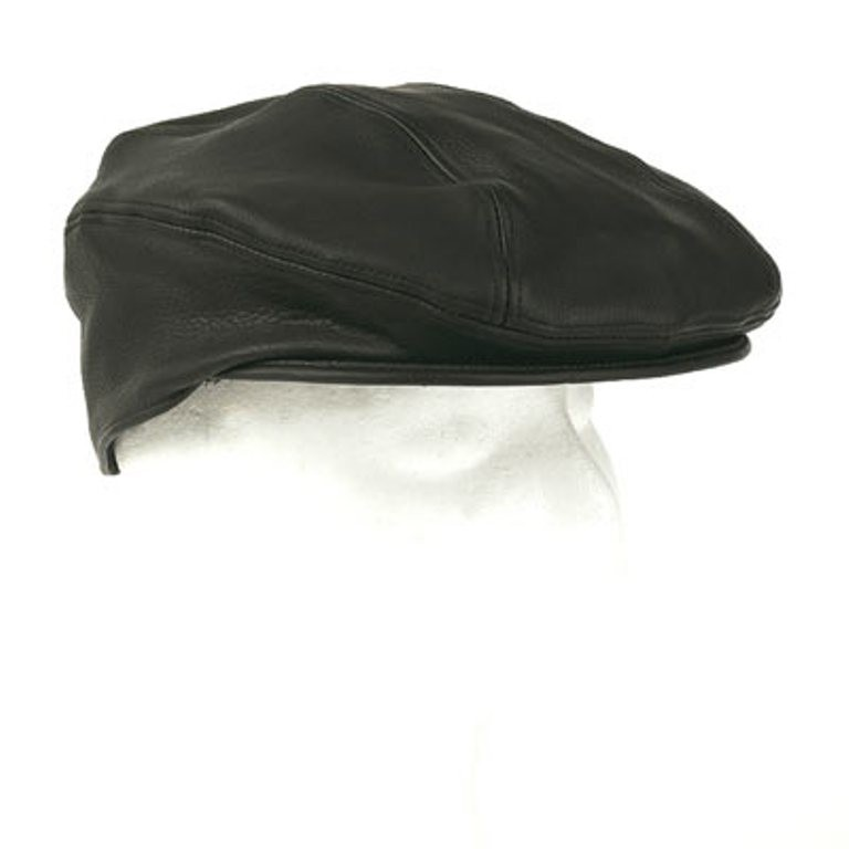 HMB-903A NEWSBOY LEATHER GOLF CAP DRIVING IVY HAT BLACK BIKER WEAR