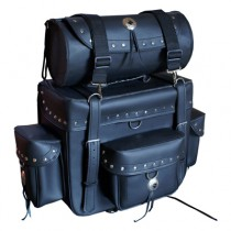 HMB-0002A FREE SHIPPING LEATHER SISSY BAR BAG SADDLEBAG LUGGAGE BIKER BAG MOTORCYCLE SISSYBAG