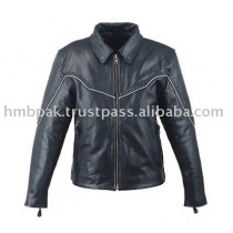 HMB-0201A GENUINE LEATHER JACKET LADIES BIKER JACKETS ZIPOUT LINING