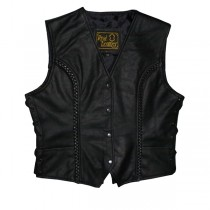 HMB-0342A Women Leather Vests Cowhide.