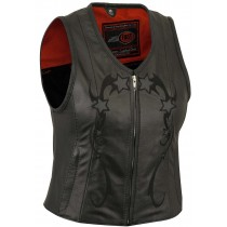 HMB-0384A Women Leather Vests Cowhide.