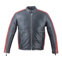 HMB-0405C GENUINE LEATHER JACKET MEN BIKER JACKETS ZIPOUT LINING