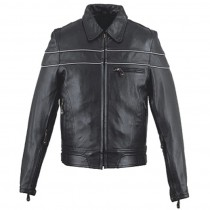 HMB-0407B GENUINE LEATHER JACKET MEN BIKER JACKETS ZIPOUT LINING