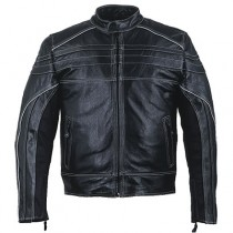 HMB-0412A GENUINE LEATHER JACKET MEN BIKER JACKETS ZIPOUT LINING