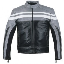 HMB-0412B GENUINE LEATHER JACKET MEN BIKER JACKETS ZIPOUT LINING