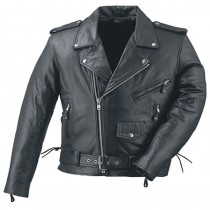 HMB-0415A GENUINE LEATHER JACKET MEN BRANDO BIKER JACKETS ZIPOUT LINING BLACK COAT