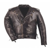 HMB-0415C GENUINE LEATHER JACKET MEN BRANDO BIKER JACKETS ZIPOUT LINING BLACK COAT