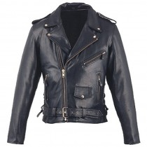 HMB-0417A GENUINE LEATHER JACKET MEN BRANDO BIKER JACKETS ZIPOUT LINING BLACK COAT