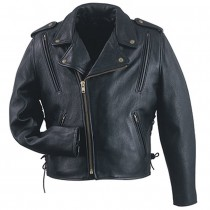 HMB-0421E GENUINE LEATHER JACKET MEN BIKER JACKETS ZIPOUT LINING