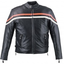 HMB-0425A GENUINE LEATHER JACKET MEN BIKER JACKETS ZIPOUT LINING