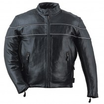 HMB-0428A GENUINE LEATHER JACKET MEN BIKER JACKETS ZIPOUT LINING