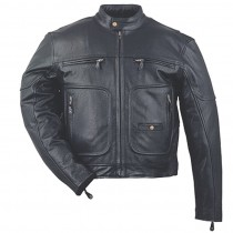 HMB-0460A GENUINE LEATHER JACKET MEN BIKER JACKETS ZIPOUT LINING