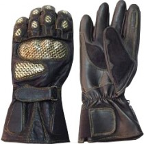 HMB-2011A LEATHER BIKER GLOVES RIDER CHOICE FULL FINGERS