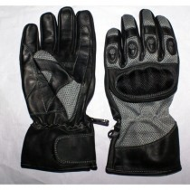 HMB-2011D LEATHER BIKER GLOVES RIDER CHOICE FULL FINGERS