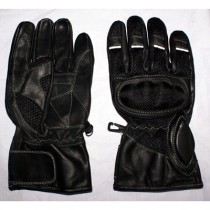 HMB-2011E LEATHER BIKER GLOVES RIDER CHOICE FULL FINGERS