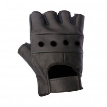 HMB-2013A LEATHER BIKER GLOVES RIDER CHOICE FINGERLESS