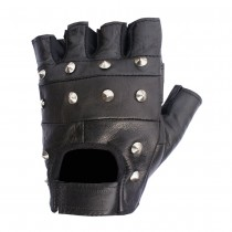 HMB-2013B LEATHER BIKER GLOVES RIDER CHOICE FINGERLESS
