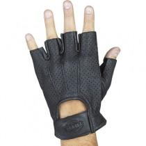 HMB-2014A LEATHER BIKER GLOVES RIDER CHOICE FINGERLESS