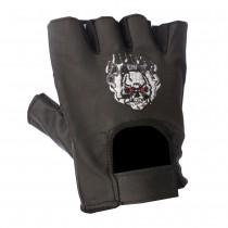HMB-2015B LEATHER BIKER GLOVES RIDER CHOICE FINGERLESS