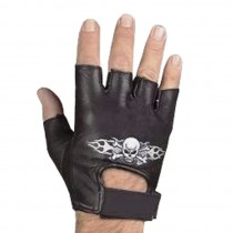 HMB-2015C LEATHER BIKER GLOVES SKELETON EMBROIDERY RIDER CHOICE
