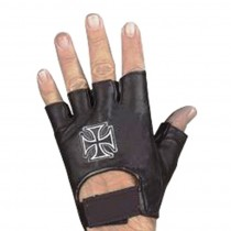 HMB-2015D LEATHER BIKER GLOVES RIDER CHOICE FINGERLESS