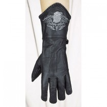 HMB-2077A LEATHER BIKER GLOVES RIDER CHOICE FULL FINGER
