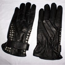 HMB-2079A LEATHER BIKER GLOVES RIDER CHOICE FULL FINGER