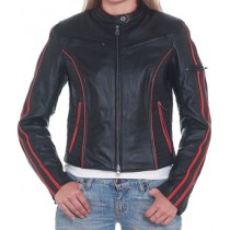 HMB-0235A GENUINE LEATHER JACKET LADIES BIKER JACKETS ZIPOUT LINING