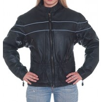 HMB-0247B GENUINE LEATHER JACKET LADIES BIKER JACKETS ZIPOUT LINING