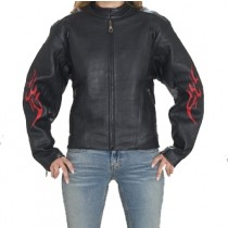 HMB-0255A GENUINE LEATHER JACKET LADIES BIKER JACKETS ZIPOUT LINING