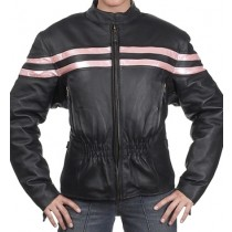 HMB-0263A GENUINE LEATHER JACKET LADIES BIKER JACKETS ZIPOUT LINING