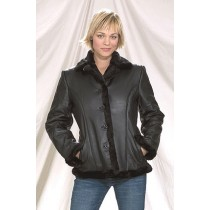 HMB-0280A GENUINE LEATHER JACKET LADIES BIKER JACKETS ZIPOUT LINING