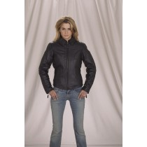HMB-0282A GENUINE LEATHER JACKET LADIES BIKER JACKETS ZIPOUT LINING