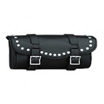 HMB-3002A LEATHER MOTORCYCLE TOOLS FORK BAG BIKER TOOLBAG BLACK STUDS STYLE