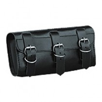 HMB-3007A LEATHER MOTORCYCLE TOOLS FORK BAG BIKER TOOLBAG BLACK THREE STRAPS STYLE