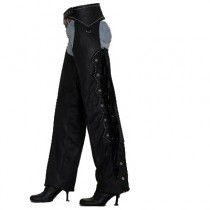 HMB-324A LEATHER CHAPS BLACK ZIPPER STYLE THIGH GATHERED