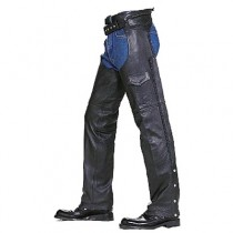 HMB-326A LEATHER CHAPS BLACK ZIPPER STYLE THIGH GATHERED