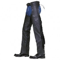 HMB-327A LEATHER CHAPS BLACK ZIPPER STYLE THIGH GATHERED