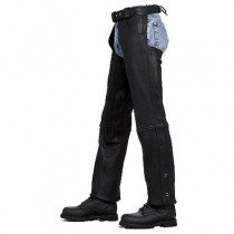 HMB-332A LEATHER CHAPS BLACK ZIPPER STYLE THIGH GATHERED