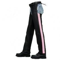 HMB-333B LEATHER CHAPS BLACK ZIPPER STYLE THIGH GATHERED