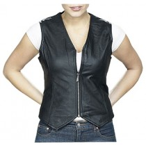 HMB-0341A Women Leather Vests Zipper Style Black Cowhide.