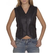 HMB-0345A Women Leather Vests Cowhide.