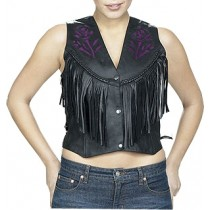 HMB-0357A Women Leather Vests Cowhide.